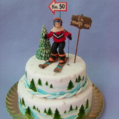 This Cake Was Create To 50-Th Birthday Anniversary To A Skiing Man .happy Anniversary!