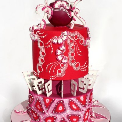 Red Fantasy Wedding Cake