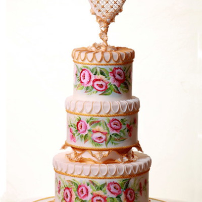 Wedding Cake Flowers And Heart Hand Painted With Royal Icing Elements Its Been Featured In Wedding Cake Magazine Uk Issue 49