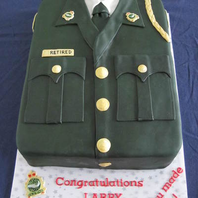 Uniform Cake To Celebrate A Retirement Chocolate Porter Cake Filled With Chocolate Smbc And Covered In Chocolate Ganache And Fondant