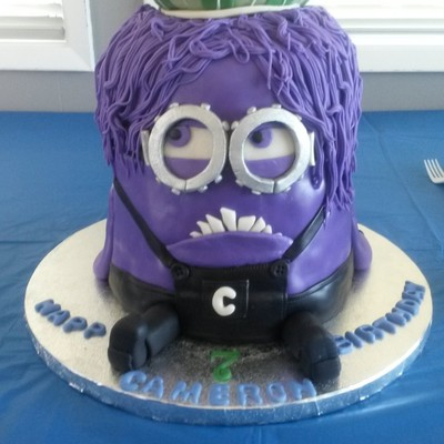 At His Request A Purple Minion Specifically Evil Kevin Although I Couldnt Accurately Replicate His Hair Cake For My Grandsons 7Th Birt