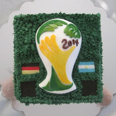 A World Cup Cake In Honour Of The Final On July 13Th The Black Squares Were Where The Appropriate Scores Would Be Added After The Game