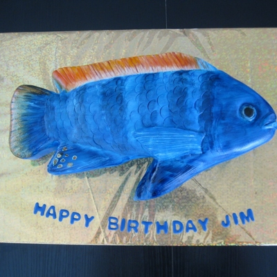 Hand Painted Fish Cake My Husband Raises African Cichlids So I Decided To Make Him A Cichlid Birthday Cake This Just Reinforced The Fac