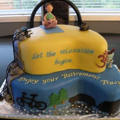 Cake For A Friend And Co Workers Retirement Party I Tried To Capture Her Interests Including Rock Climbing Yoga Biking Camping Etc