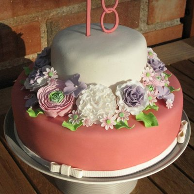 An 18Th Birthday Cake With Lots And Lots Of Handmade Sugar Flowers on Cake Central