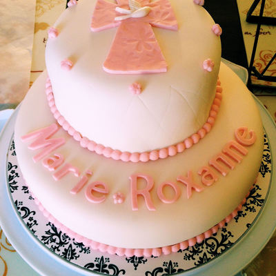 Marie Roxannes Pretty Pink Baptism Cake Wasc Cake With Vanilla Bean Buttercream