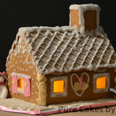 My First Gingerbread House Snow And Assembling With Glaze Icing And Fondant Shutters And Decorations Sowman And Penguins Are Also Made Of