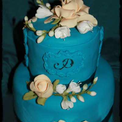 Turquoise Cake With Freesia