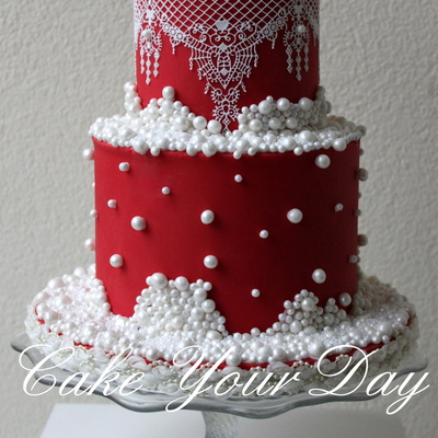 The Couple Asked For A Elegant Winter Themed Wedding Cake In Red With Lots And Lots Of Pearls And No Flowers