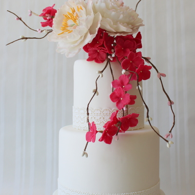 Wedding Cake With Peony And Hydrangea Sugar Flowers on Cake Central