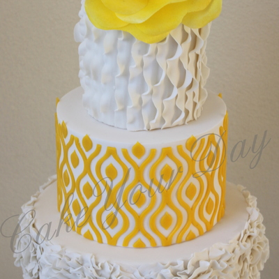 Wedding Cake White & Yellow