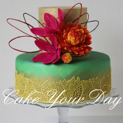 Autumn Colors Cake Edible Lace And Sugar Flowers Taart In Herfst Kleuren Eetbare Kant En Suiker Bloemen