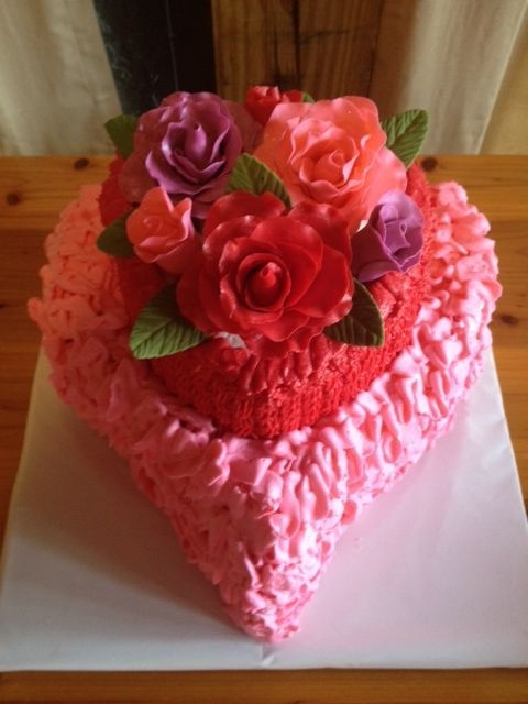 Heart Shaped 9 And 6 Vanilla Cakes With Raspberry Buttercream Fondantgp Roses And Leaves Buttercream Pink Messy Ruffles