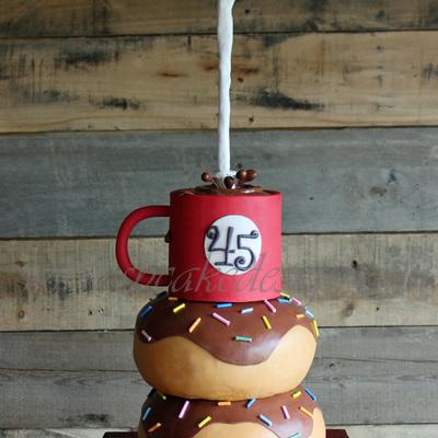 gravity defying coffee donut cake so so so much fun a birthday cake ...