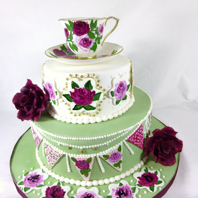 Free Hand Painted English High Tea Theme Cake With Hand Painted Cup And Saucer