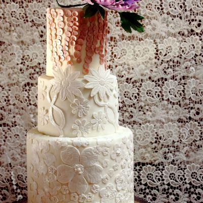 Lace Applique And Floral Wedding Cake