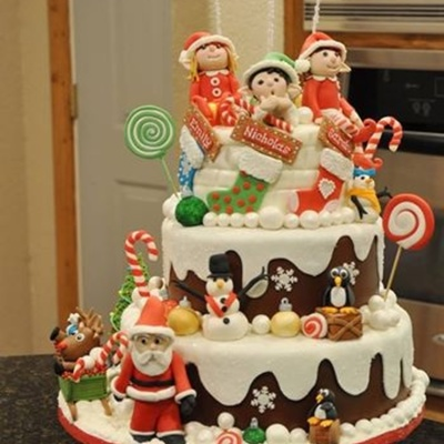 Christmas With Elves Birthday Cake