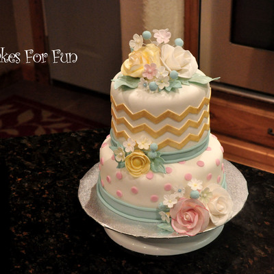 Chevron And Floral All Occasion Cake