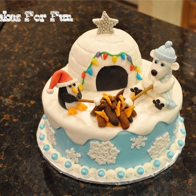 Penguin And Polar Bear Roasting Marshmallows Outside Of Their Igloo Marshmallow Fondant Used For Decorating