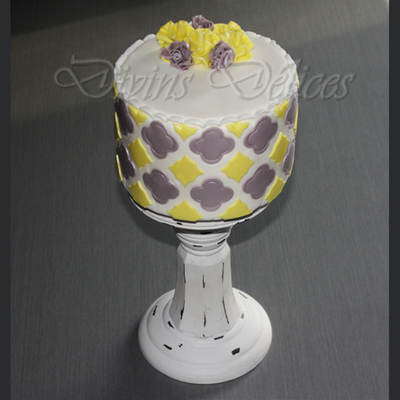 Gray And Yellow Pattern Cake