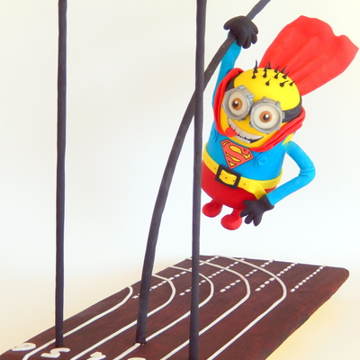 Gravity Defying Cake Minion Superman On Pole Vaultingt Is About A Real Gravity Defying Cake Cake In The Air The Cake Involves A H
