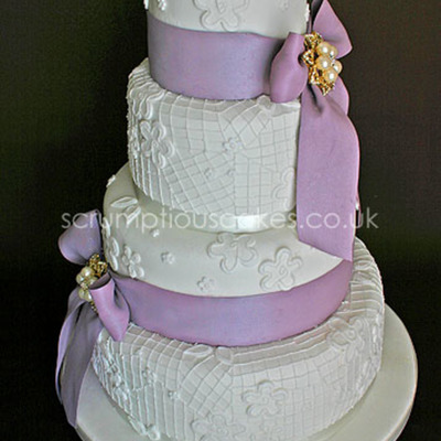 Hand Piped Lace Effect Wedding Cake