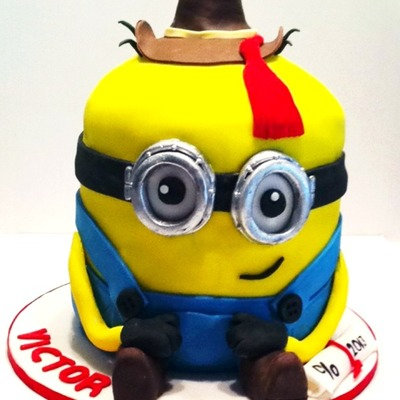 This Adorable Cowboy Minion Cake Was The Perfect Design To Celebrate Both Graduation And Birthday