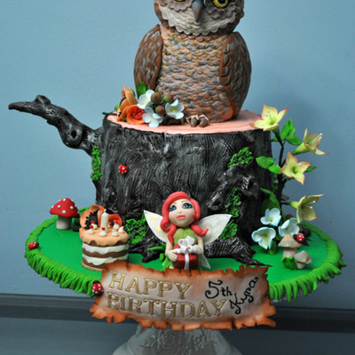 My Daughters Fairy Forest Cake For Her 5Th Birthday The Owl Is Sculpted From Cake Chocolate Mud Cake With Dark Chocolate Ganache Fondan