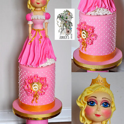 My Daughters 6Th Birthday Cake The Topper Is 16 Inch Tall And Has Rise Crispy Cereal Base The Cake Is Sponge With Berries Filled With Ap
