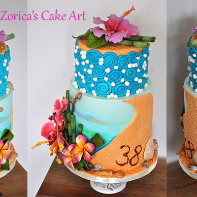 Its My Own Birthday Cake Sugar Flowers Modeling Chocolate Shells And Royal Icing Sand