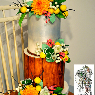 Country Style Wedding Cake Hand Painted Middle Tier And Sugar Flowers