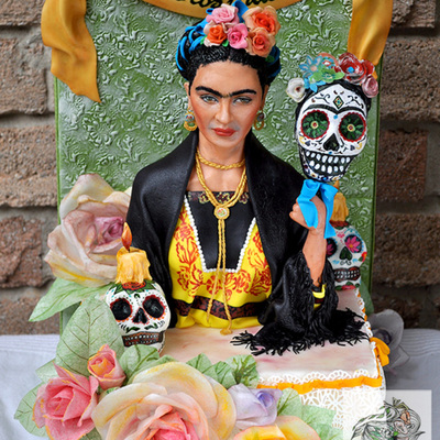 Frida Kahlo Cake For Dia De La Muertos Sugar Skull Bakers Collaboration 2014 She Is Sculpted Fondant 13 Scale
