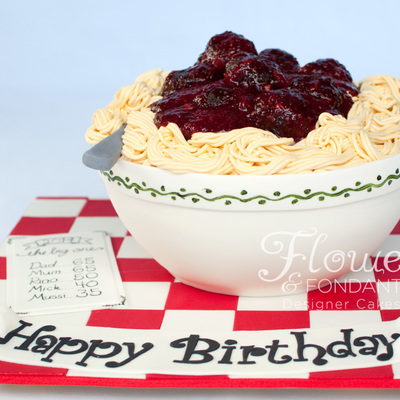 Spaghetti Amp Meatball Cake Everything You See Is Edible And Delicious The Bowl Is Red Velvet Cake Layered With Cream Cheese Flavoured