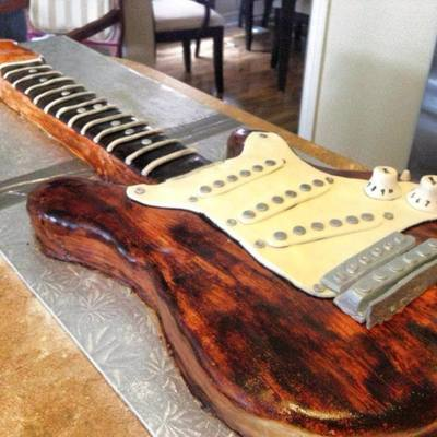 Wooden Guitar Cake All Edible