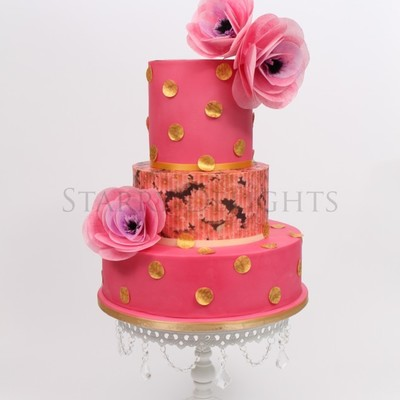 Pink And Gold Wedding Cake With Wafer Paper