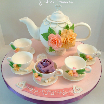 3D Teapot Cake And Edible Teacups I Just Love The Meaning Behind This Cakethe Teapot Represented The Birthday Girl Turning 90 And Each Tea...