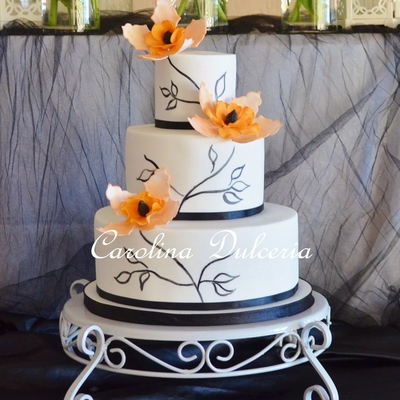 Painted Cake And Orange Flowers