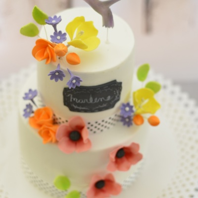 Flowers And Hummingbird Cake