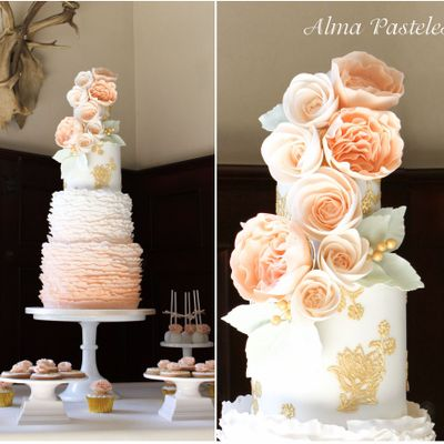 Peach & Ruffles Wedding Cake