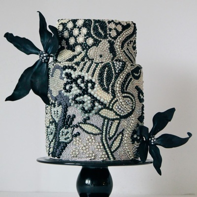 Black And White Beaded Cake