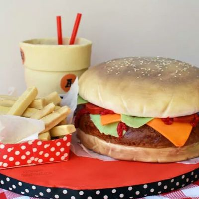 Burger, Fries And Soda Cake.