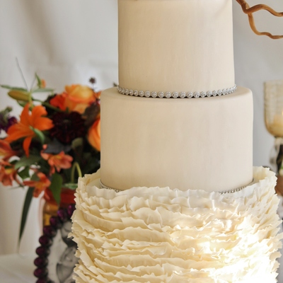 Romantic Wedding Cake With Ruffles Bling And Sugar Peony And Twigs By Sweet And Swanky Cakes
