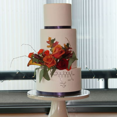 Fall Wedding Cake With Fresh Flowers And Hand Painted Leaves And Chemistry Symbol That Spells Love In Amino Acids By Sweet And Swanky Cak