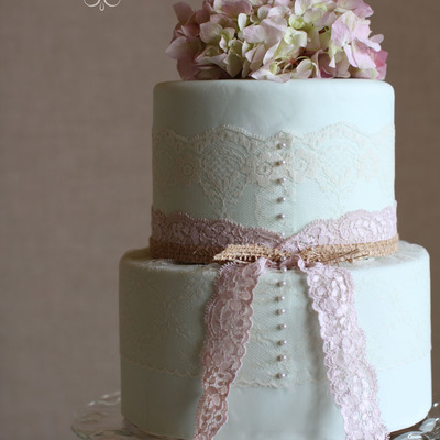 Vintage Mint Green Wedding Cake With Real Lace And Hydrangas By Sweet And Swanky Cakes