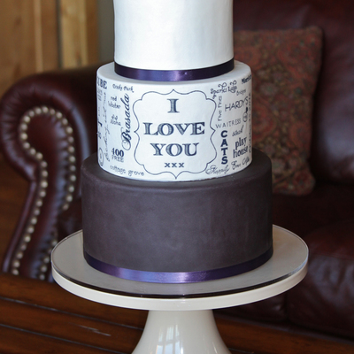 Hand Painted Typography Wedding Cake