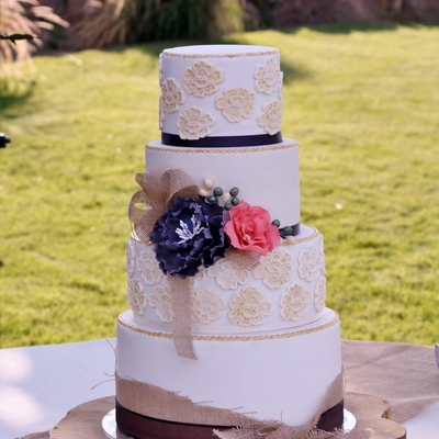 Lace Peony And Burlap Wedding Cake With Sugar Flowers