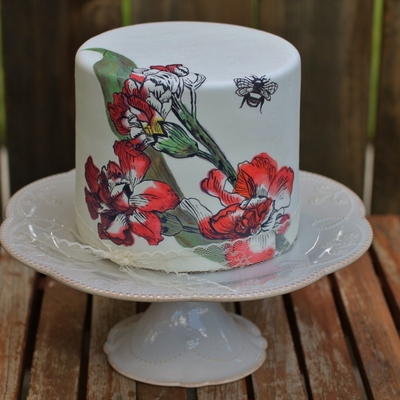 Hand Painted Flowers And Bee Cake With Real Lace By Sweet And Swanky Cakes
