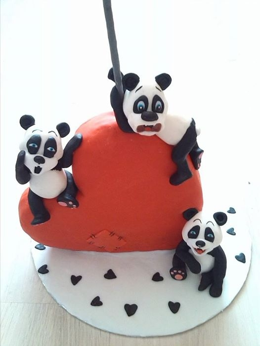 My Heart Shaped Cake With Panda Bears