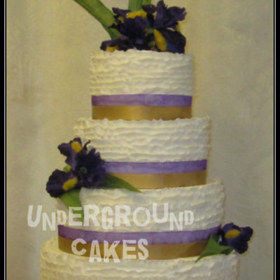Purple And Gold Iris Floral Buttercream