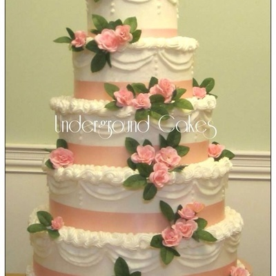 Round Five Tier With Peach Ribbon And Roses Tiers Measure 14 12 10 8 6